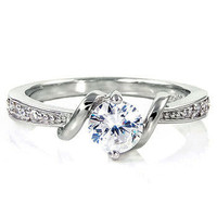 Sterling Silver 0.71ct Russian Ice on Fire Simulated Diamond CZ Promise Friendship Engagement Ring, Entwined Love (sizes 4-10) SMS85042-3066