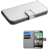 Book-Style Diamond Wallet Case for HTC One M8 - Silver