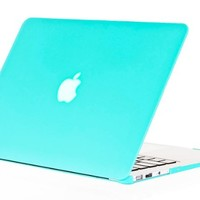 "Kuzy - AIR 13-inch Teal / Turquoise Hot BLUE Rubberized Hard Case Satin for NEW Apple MacBook Air 13.3"" (A1369 and A1466) Aluminum Unibody SeeThru Cover"