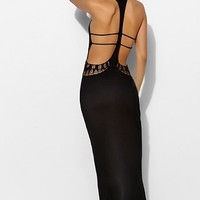Staring At Stars Crochet Cutout Cover-Up Maxi Dress- Black