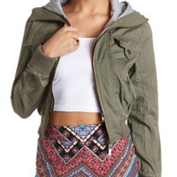 ZIP-UP LAYERED HOODED BOMBER JACKET