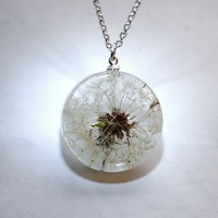 NaturalPrettyThings | One True Dandelion Necklace Resin Jewelry Make A Wish Real Complete Dandelion Pendant Statement Specimen Seeds Transparent Extra Long Chain | Online Store Powered by Storenvy