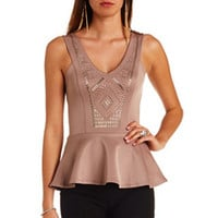 EMBELLISHED DEEP V PEPLUM TOP