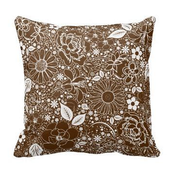 Botanical Beauties Brown THROW PILLOW