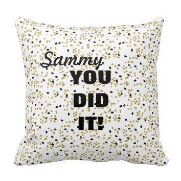 Graduation Confetti Pillow Black and Gold