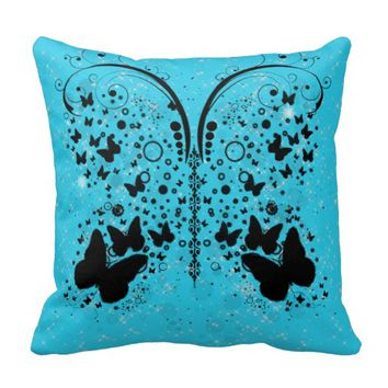 Butterfly Sparkles AQUA BLUE Pillow