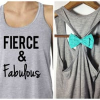 Fierce and Fabulous / Workout Tank / Bow Tank Top / Running Tank / Gym Tank / Running Shirt