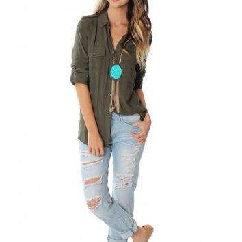 Green Khaki Button Down