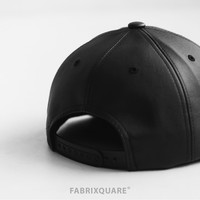 Black Leather Snapback - special price