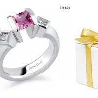 Princess Cut Pink Sapphire Diamond Tension Set Engagement Rings