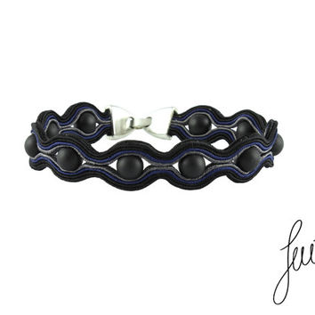 Men's handcrafted bracelet with unique, soutache jewelry, black, grey, navy
