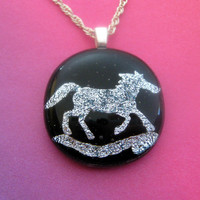 Wild Horses Horse Pendant Fused Glass Pendant by mysassyglass