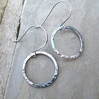 Silver Hoop Earrings  Fine Silver Hammered Hoops  by ZorroPlateado