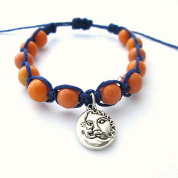 Sun and Moon Bracelet Navy Hemp Bracelet Beaded Sun Moon Charm