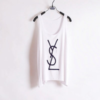 Melted YSL Women Tank Top White Sides Straight by zzzAfternoon