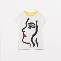 PRINTED COMBINATION T-SHIRT