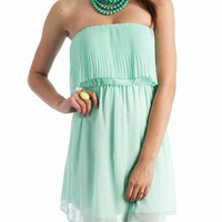 accordion pleated bodice tube dress $40.30 in MINT - Seafoam/Mint | GoJane.com