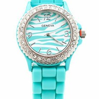 zebra print inset watch $11.50 in MAGENTA MINT YELLOW - Seafoam/Mint | GoJane.com