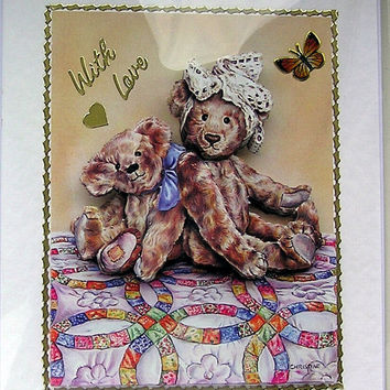 Teddy Bear Hand-Crafted 3D Decoupage Card - With Love (1644)