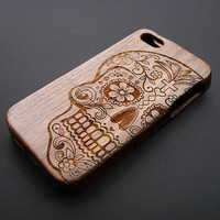 Buy 1 Get 1 Free - Skull iPhone 5 , 5s Case , Natural Wood iPhone 5s Case , Real Wood iPhone5 Case Wood , Personalized iPhone 5 Case Wood