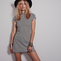 Free People Womens On the Line Ponte Dress - Charcoal / Ivory