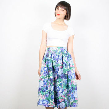 Vintage Blue Green Skirt High Waisted Skirt Midi Skirt 1980s 80s Pretty Rose Floral Print Knee Length Skirt A Line Skirt M Medium L Large XL