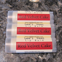 Red Velvet Cake Lip Balm One Tube of Beeswax Lip by LeesBeesNJ