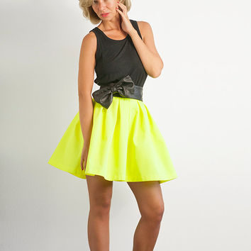 Neon Yellow Cotton Twill Pleated Skirt