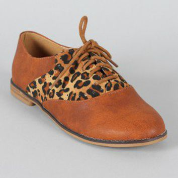 Qupid Strip-53 Leopard Oxford Flat