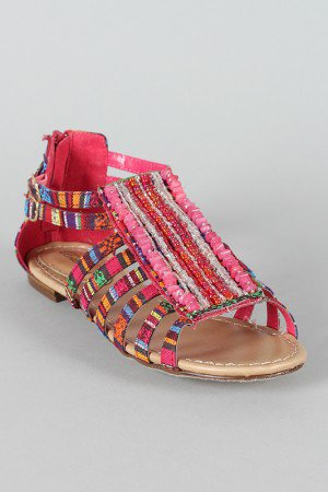 Breckelle Echo-11 Tribal Print Beaded Flat Sandal