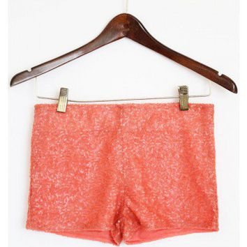 Coral Sequin Shorts
