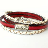 Red Leather Wrap Bracelet with Magnetic Silver Clasp / Regaliz Red Leather Wrap Bracelet