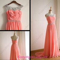 Long Beaded Watermelon/pink/mint/coral/navy Prom Dress 2014/ Homecoming Dress/ Formal party dress