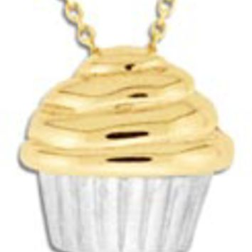 14K Gold/Sterling Silver Cupcake Pendant: Personalized Boutique, Inc.