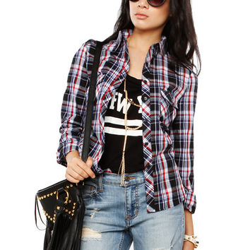 Papaya Clothing Online :: DAILY PLAID BLOUSE