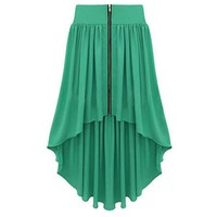 Bqueen Asymmetrical Maxi Skirt Green BY147G - Designer Shoes|Bqueenshoes.com