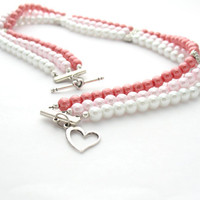 Multi Strand Necklace Pink Red &amp; White Choker by MoonlightShimmer