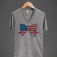 merica bow vneck - glamfoxx.com - Skreened T-shirts, Organic Shirts, Hoodies, Kids Tees, Baby One-Pieces and Tote Bags