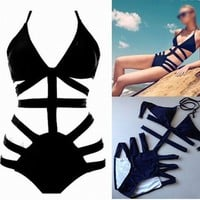 Blue One Piece Cut-out Swimsuit from Chaussure Boite by B. Ayesha