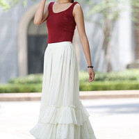 white long skirt - soft chiffon skirt with tiered hem women skirt - custom made (1022)