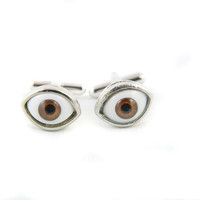 Brown Eyes Silver Cuff Links by angelyques on Etsy