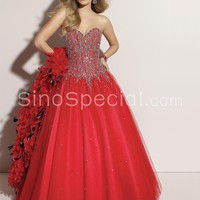 Red Ball Gown Sweetheart Neckline Floor Length Sequins Tulle Graduation Dress-SinoSpecial.com