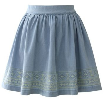Aztec Stitch Denim Skater Skirt in Light Blue Blue