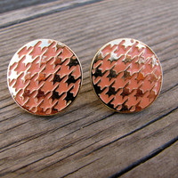Houndstooth Stud Earrings - Peach