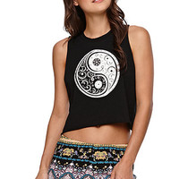 LA Hearts Ying Yang Crop Muscle Tank - Womens Tee - Black -
