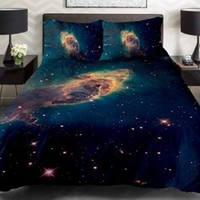 Anlye Galaxy Quilt Cover 3d Printing Galaxy Duvet Cover Galaxy Never Fade Sheets Space Sheets Outer Space Bedding Set with 2 Matching Pillow Covers (TWIN)
