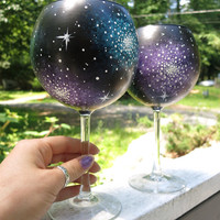 Hand painted galaxy balloon wine glass set