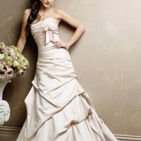 Chic Mermaid Asymmetric Satin Wedding Dress Bridal Gown With Bown And Ruffles