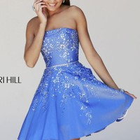 Embellished Strapless Cocktail Dress by Sherri Hill