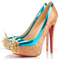 Christian Louboutin Asteroid 140mm Spike Toe Pumps Turquoise - $158